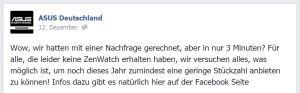 Asus ZenWatch Verfügbarkeit bei Facebook