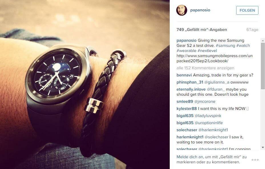 Samsung Gear S2 auf Instagram