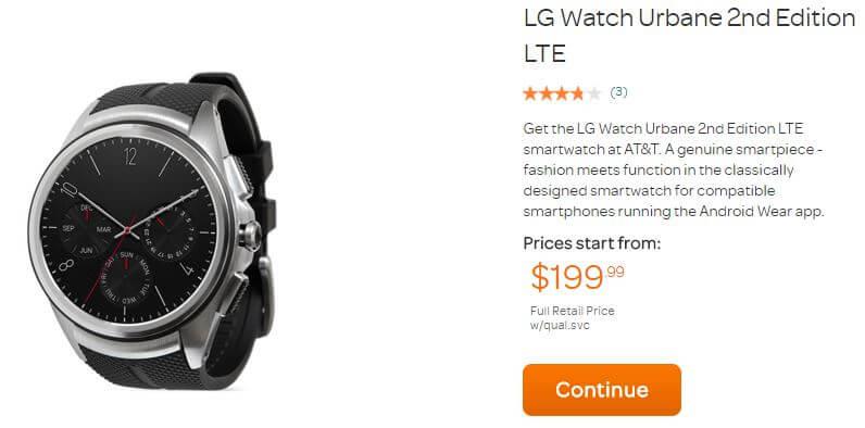 LG Watch Urband 2nd Edition im Angebot bei AT&T