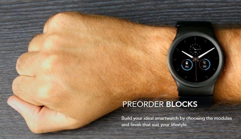 Screenshot von der Blocks Webseite: Smartwatch vorbestellen