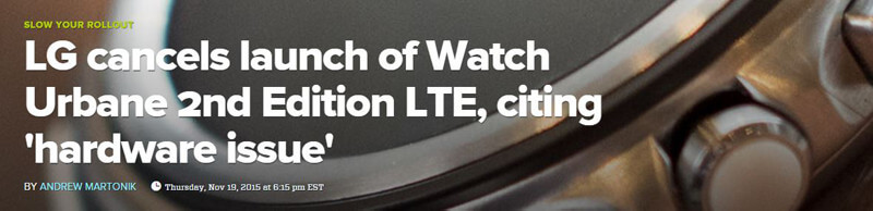 LG stoppt verkauf der LG Watch Urbane 2