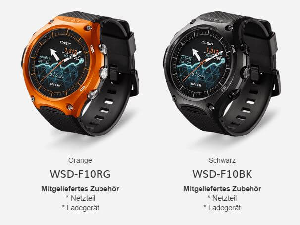 Casio WSD-F10 Outdoor Smartwatch in Orange und Schwarz