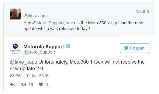 Kein Update auf Android Wear 2.0 für die Moto 360