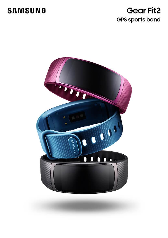 Samsung Gear Fit 2 in den Farben Lila, Blau und Schwarz