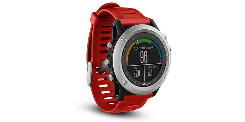 Die fenix 3 Smartwatch mit rotem Armband